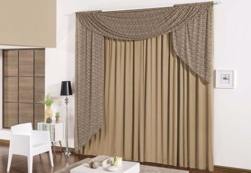 cortina safari para sala ou quarto p/ varão duplo cor avelã