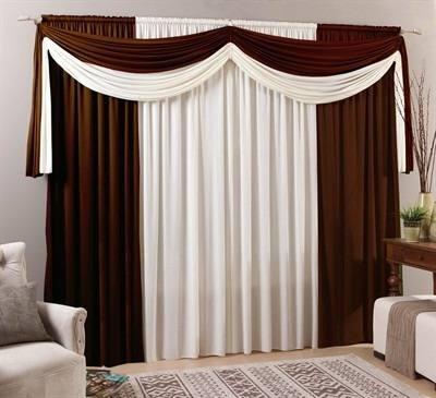 cortina sala 300 x 250 cm malha com bandô cairo marrom