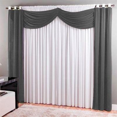 cortina sala 300 x 250 cm malha com bandô dubai cinza