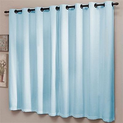 cortina sala corta luz com voal 200x180 azul - sultan