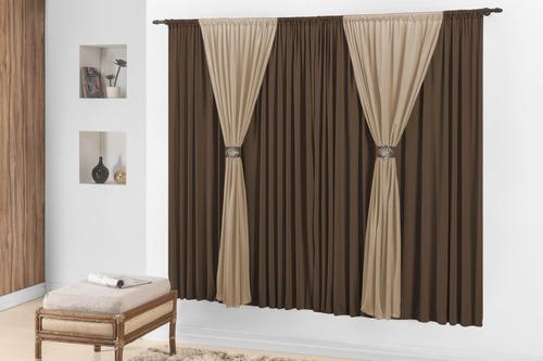 cortina sala e quarto joyce tabaco avelã 3m p/varão simples