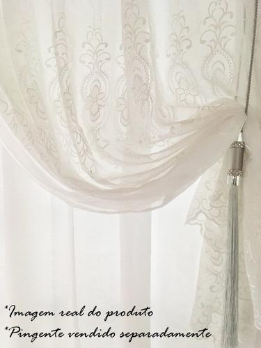 cortina sala quarto bella janela valência 4,20x2,70 bordada