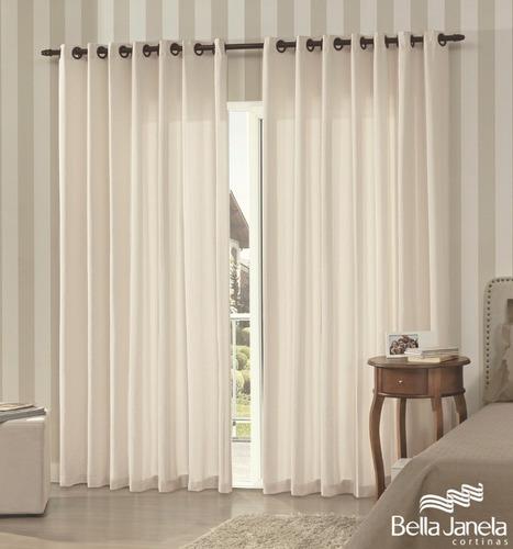 cortina sala tecido rústico pantex 3,60x2,50 bella janela