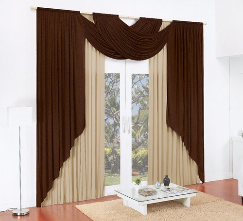 cortina sensação tabaco 4,00x2,50 grande com bando malha