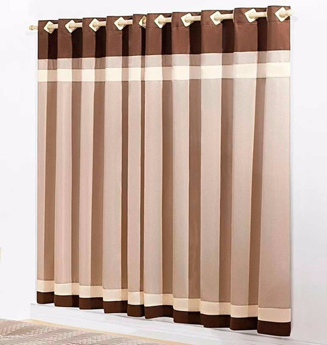 cortina stylo 2 metros marrom tabaco quarto menino infantil