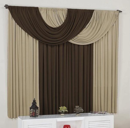cortina suellen c/ bandô p/ varão simples 2m avelã tabaco