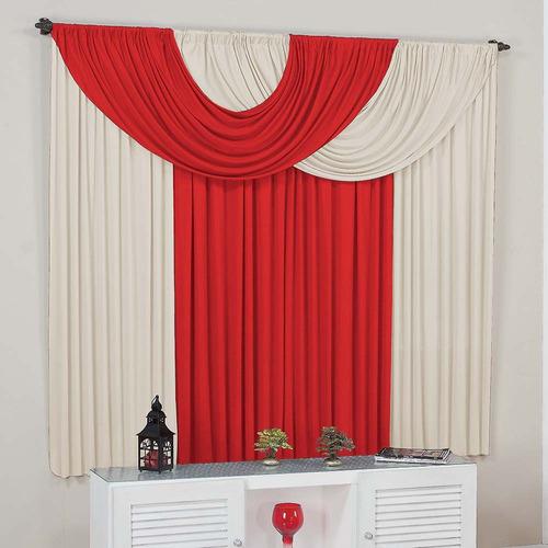 cortina suellen para sala  varão simples 3,00m x 2,80m