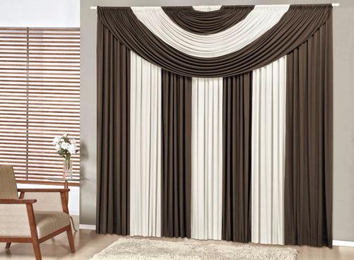 cortina suprema 3 metros tabaco/palha varão simples enxoval