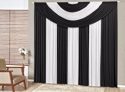cortina suprema 4m azul varão simples enxoval quarto/sala