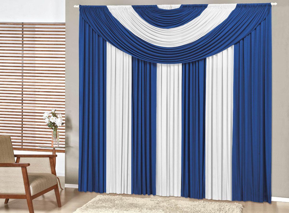 #325799 Cortina Suprema Azul Branco Quarto Sala 4 00x2 80 Para Varão R$ 179  1200x883 píxeis em Cortinas Para Sala De Estar Branca
