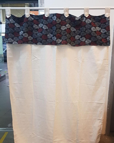 cortina tela onda c/faldon estampado 2 paño 140x195 p/barral