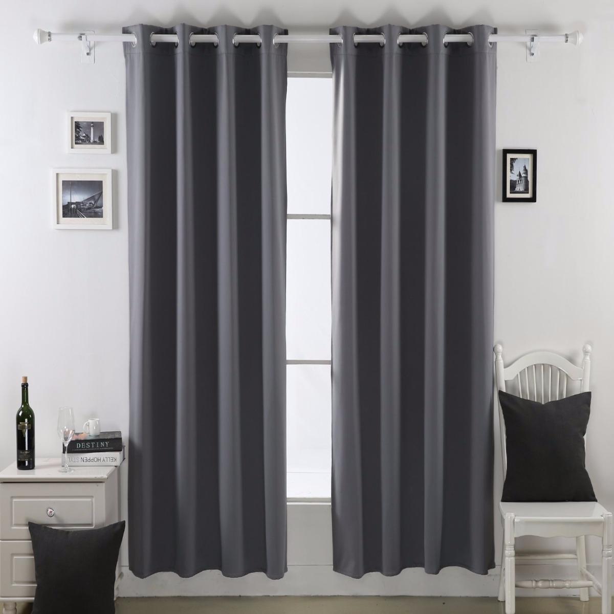 Cortina termica de franela 132x241 gris 2 en - Tela termica para cortinas ...