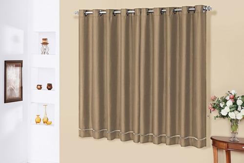 cortina thayná 2,0m x 1,70m em tecido rústico