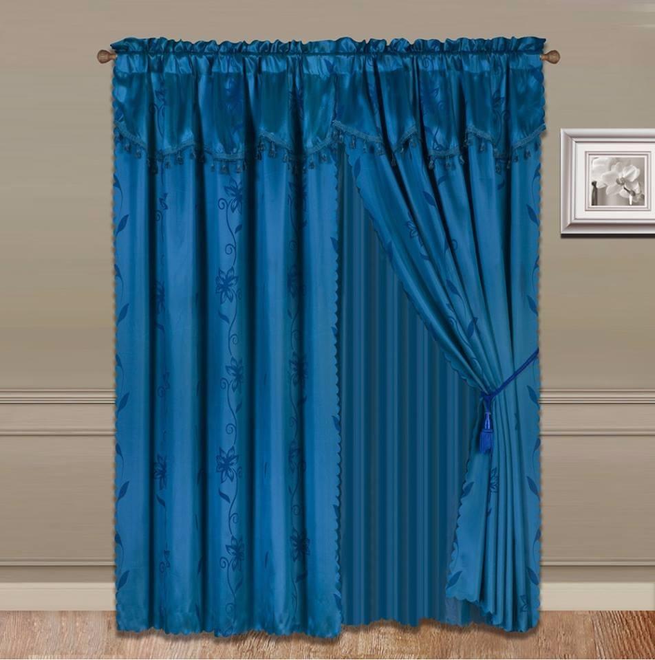 Cortina Tipo Seda Azul Turquesa Incluye 8 Piezas Jn