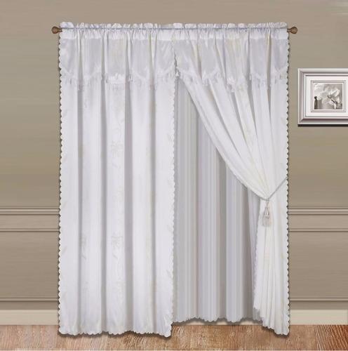 cortina tipo seda blanca - incluye 8 piezas jn