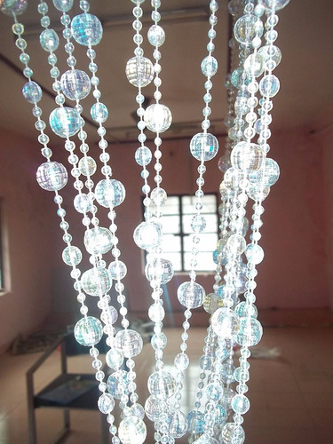 cortina transparente brilho furta cor de miçangas e contas