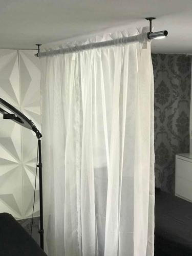 cortina traslúcida blanca 3m ancho x 2.2 de alto
