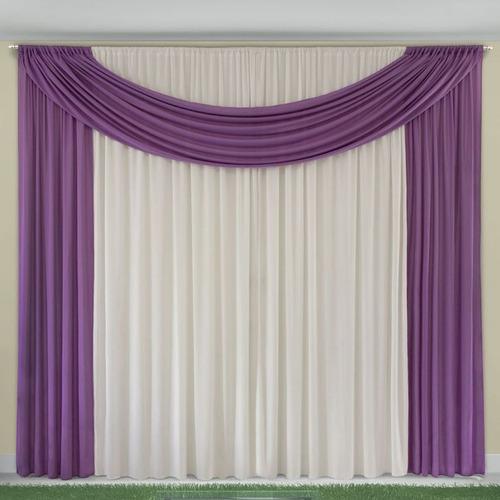 cortina varão lilás branca 2 folha grande 250 x 300 promoção