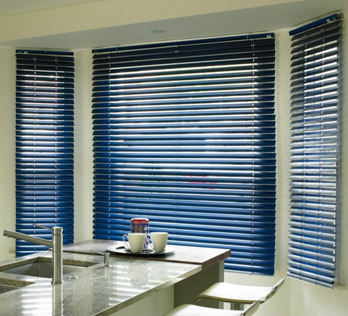 cortina veneciana azul 100% aluminio - muebleria en linea