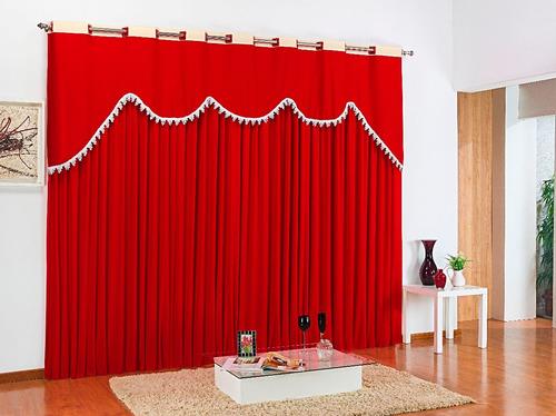 cortina vermelha para sala 3,00m em malha ilhós