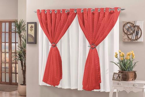 cortina verônica 3,00x2,80 p/ quarto/sala vermelho e branco
