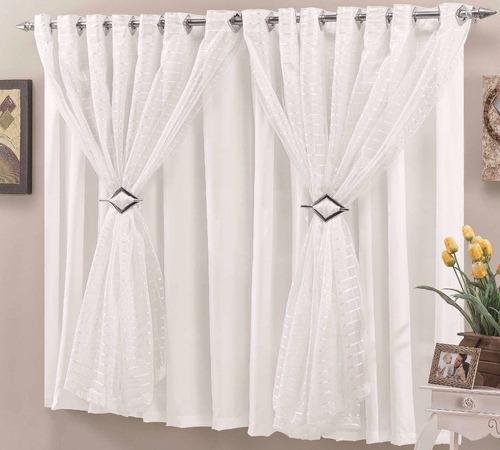 cortina verônica palha 2 metros voil fitado sala ou quarto