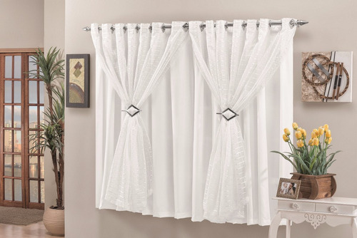 cortina veronica 2,00 x 1,70 para sala varão simples branco