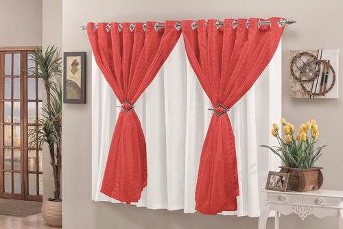 cortina veronica 2,00x1,70 para sala varão simples vermelho
