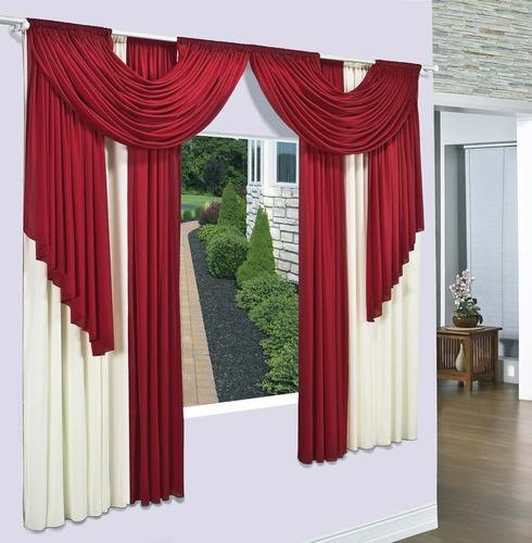cortina viena vermelho palha  3,8mx2,8m p/ varão duplo