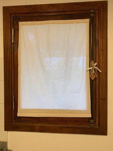 cortina visillo de lienzo brin blanco