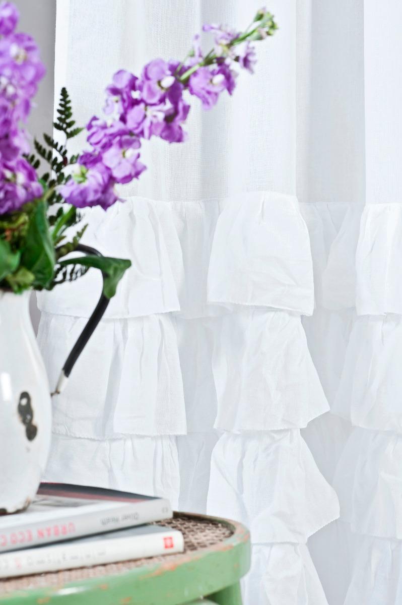 cortinas agustina de gasa de algodon con volados y tiritas