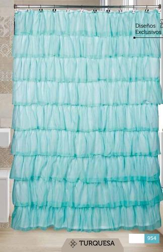 cortinas baño moulin + protector + ganchos + envio gratis