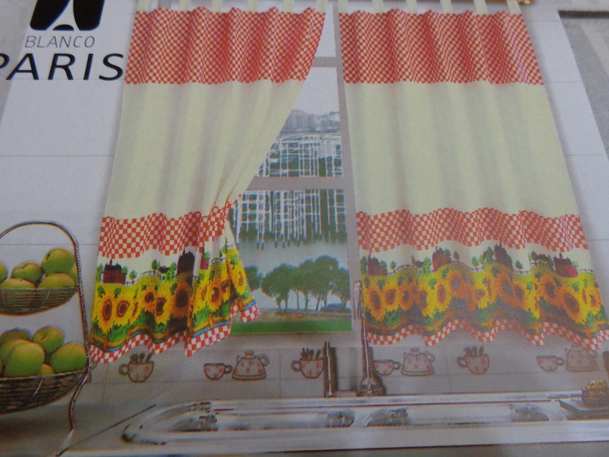 Cortinas De Cocina Blanco Paris Estampadas 2 - $ 510,00 en Mercado Libre