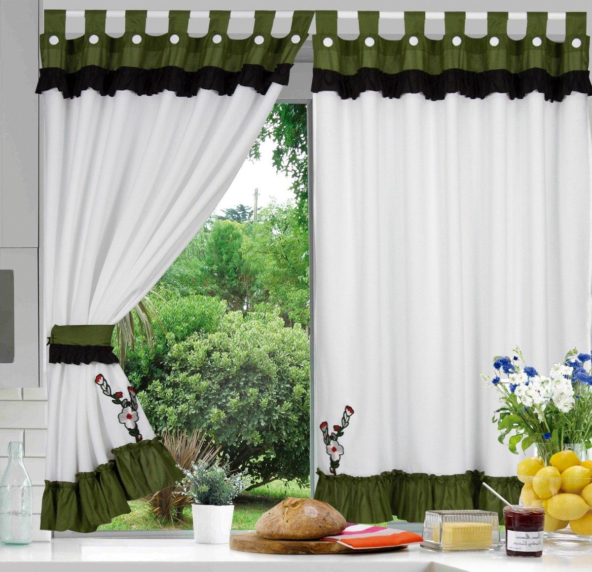Cortinas De Cocina Combinadas Aplique Bordado Ver Variedad - Ver-cortinas
