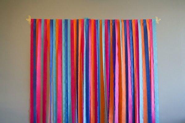 Cortinas de papel crepe como fondo para cualquier evento - Como hacer cortinas de tiras ...