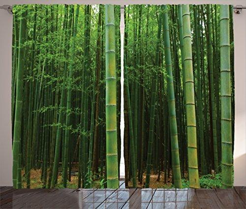 Cortinas De La Selva Decoracion Del Bambu Por Ambesonne Cu - Decoracion-bambu