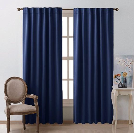 Cortinas habitacion sala decoracion azul marino 52x95 nice 1 en mercado libre - Cortinas azul marino ...