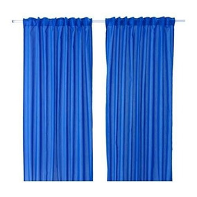 Cortinas Ikea Azul Comedor Habitaciones 2 Paños