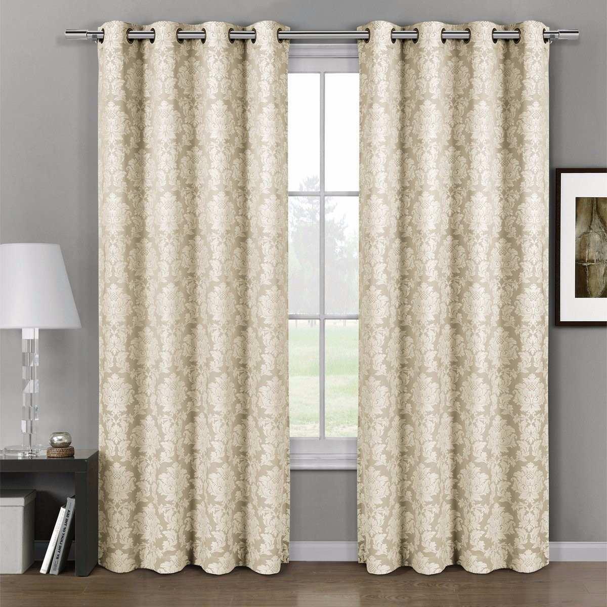 cortinas jacquard 137 x 213cm set de 2 color beige 135900 en mercado libre - Cortinas Beige
