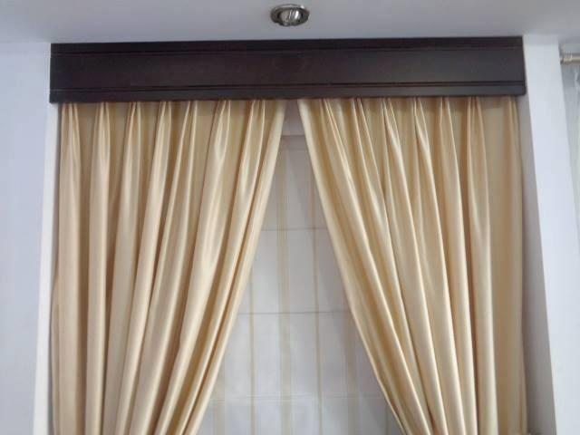 Cortinas modernas para sala con tubo de madera a buen - Precio de cortinas ...