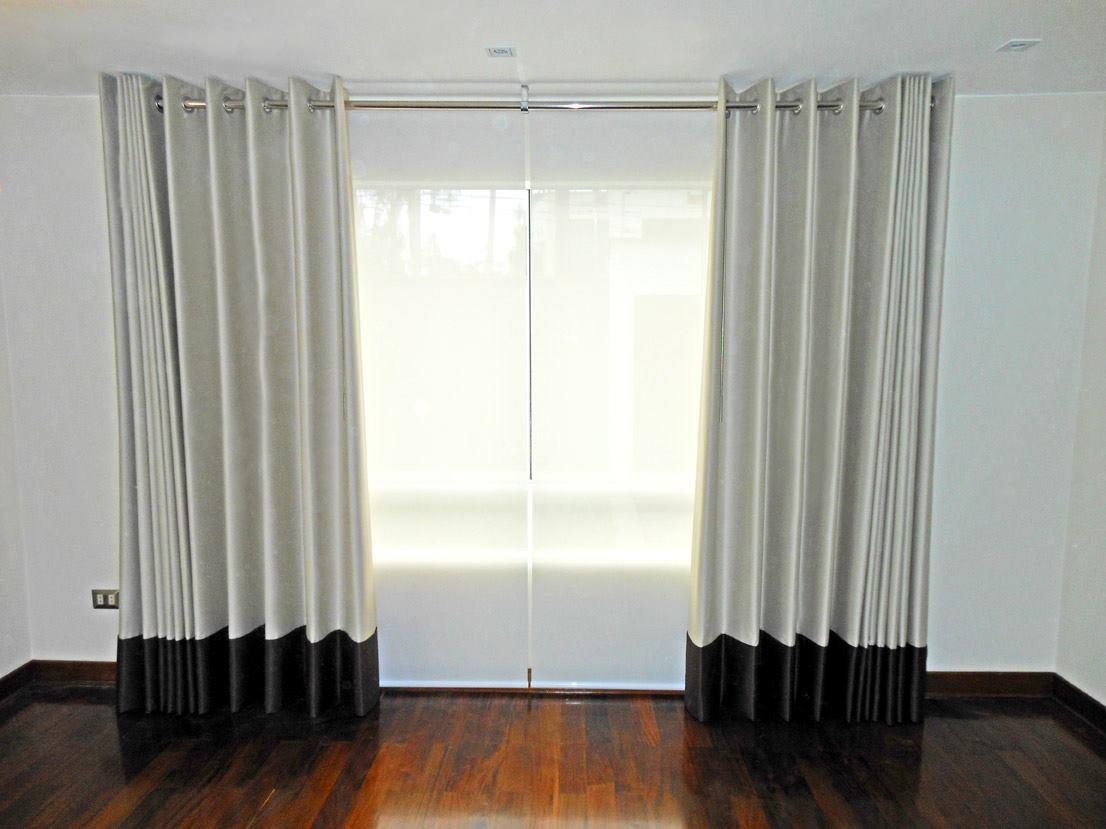 Cortinas modernas para sala con tubo de madera a buen for Precio de salas modernas