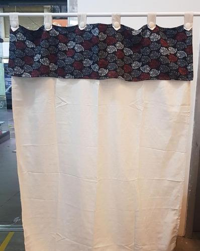 cortinas onda rustica c/estampado 2 paños 140x195 p/barral