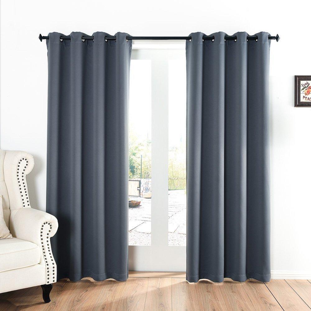 Cortinas para dormitorio acelitor 52x84 pulg gris for Cortinas gruesas para dormitorios