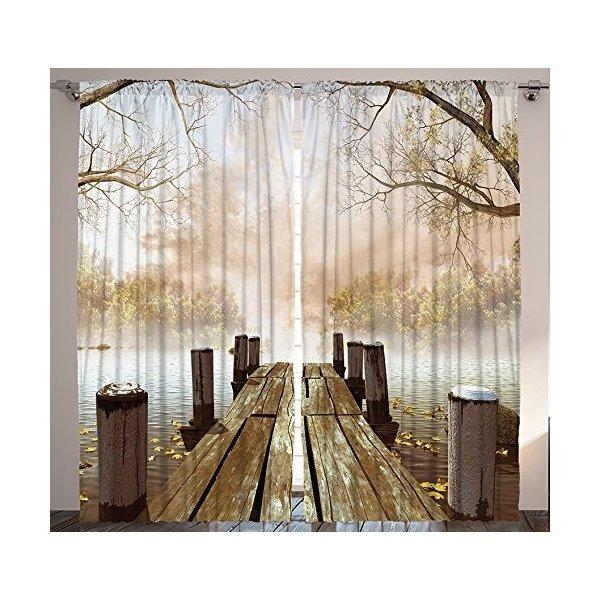 Cortinas para la sala de estar por ambesonne fall madera for Sala de estar madera