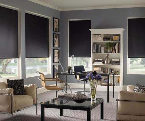 cortinas roller black out 100 % usa negras premium 2 x 2
