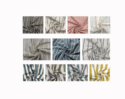 cortinas rusticas artesanales - en tela tusor rayado