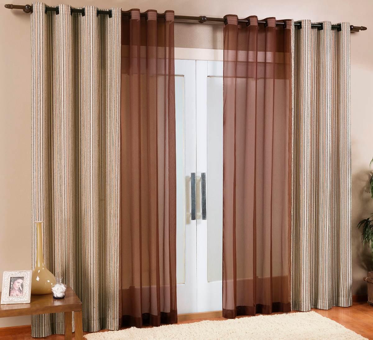 Cortinas sala varao tecido rustico 3 00 x 2 80 tecido e for Catalogo de cortinas para sala