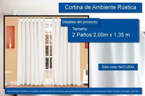 cortinas tela rústicas living 2 paños 135x200 solo natural