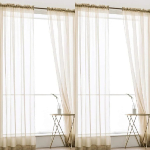 cortinas tergal traslucida juego 2 piezas