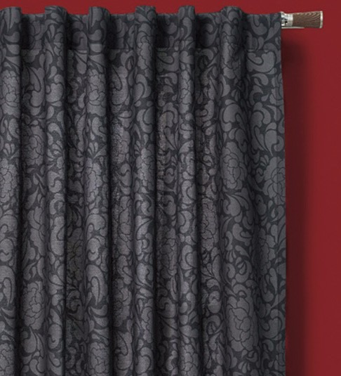 Cortinas vintage estampado gris negro 2 lienzos x 1 for Cortinas grises